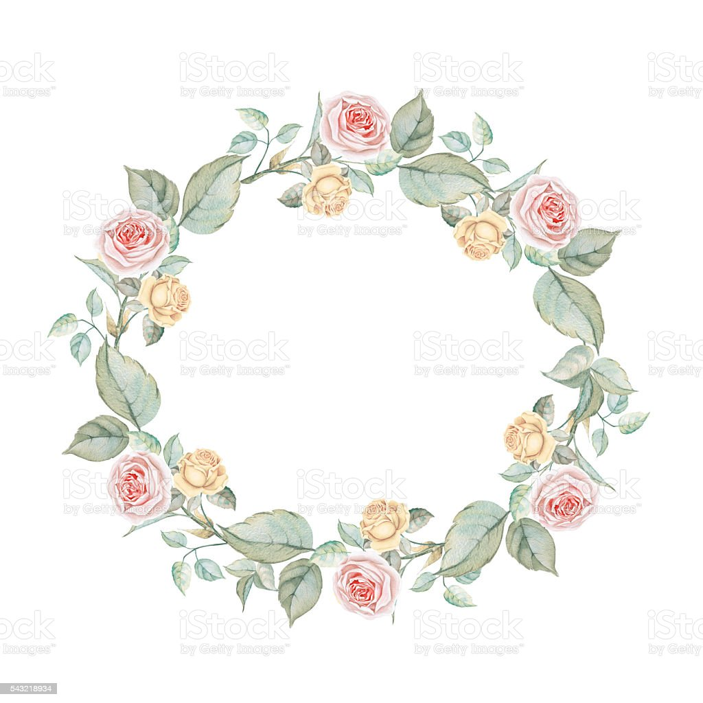 Watercolor floral wreath with pink and yellow roses stock for Couronne shabby chic