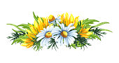 Watercolor floral wreath with sunflowers and chamomile flowers,leaves, foliage, branches, fern leaves and place for text. Perfect for wedding, invitations, greeting cards, print. Wildflowers bouquet.