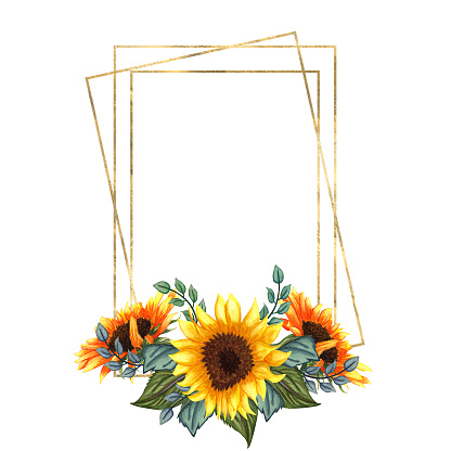 Watercolor floral wreath with sunflowers,leaves,foliage,branches,fern leaves and place for your text. Perfect for wedding, quotes, Birthday, boho style, invitations, greeting cards, print, blogs.