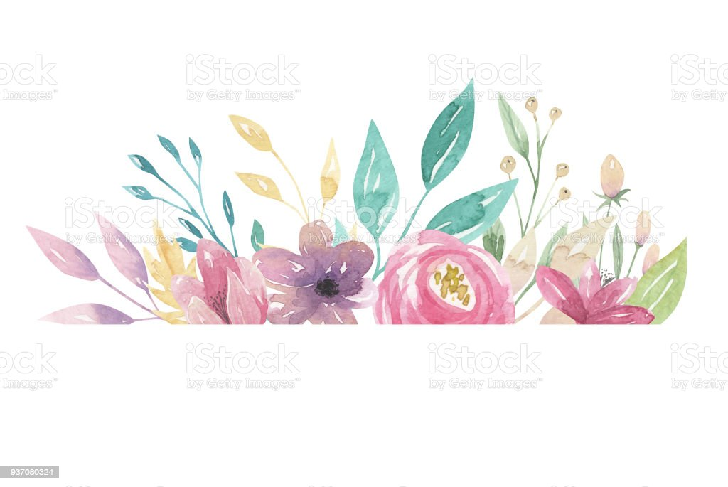 Watercolor Florals Pink Purple Flowers Border Frame Pretty Leaves ...