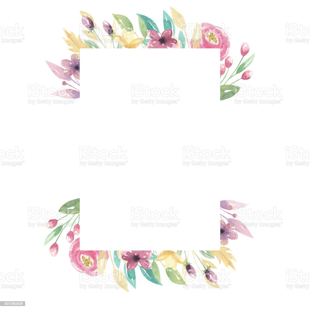 Watercolor Florals Pink Purple Flowers Rectangle Frame Border Pretty ...