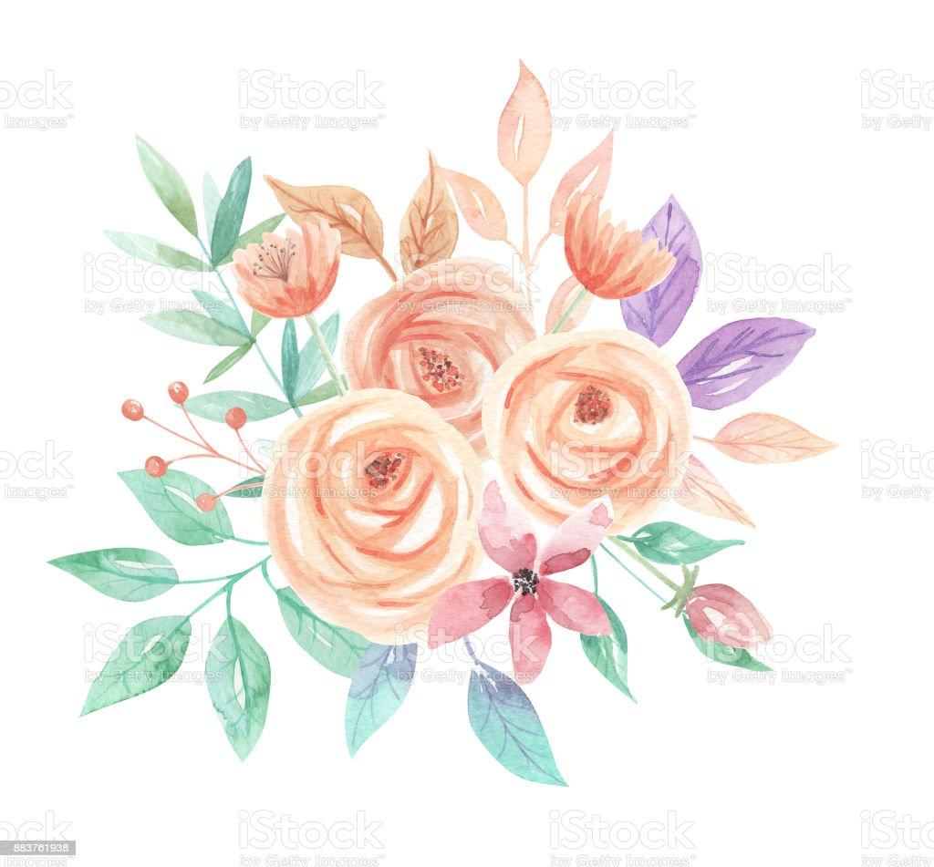 Watercolor Flower Bouquet Arrangement Spring Summer Flowers Pastels ...