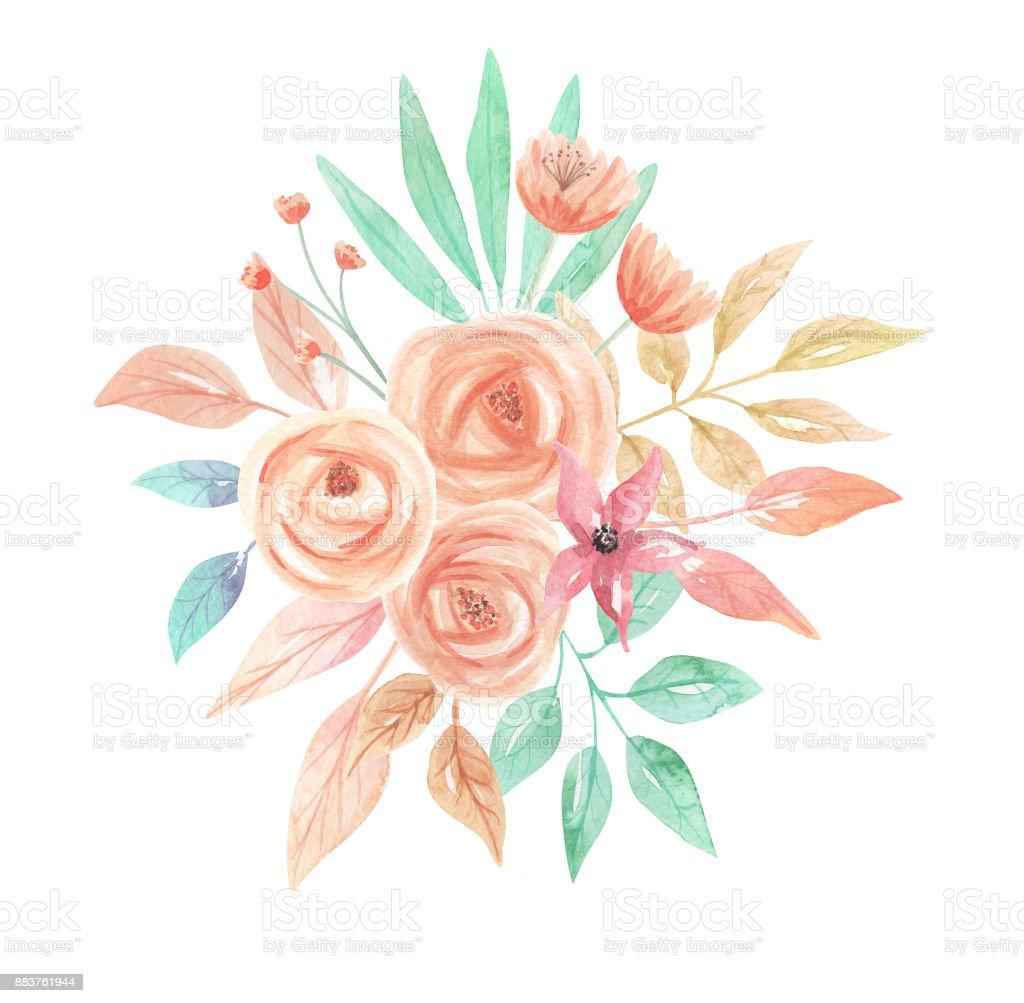 Watercolor Flower Bouquet Arrangement Spring Summer Flowers Pastels