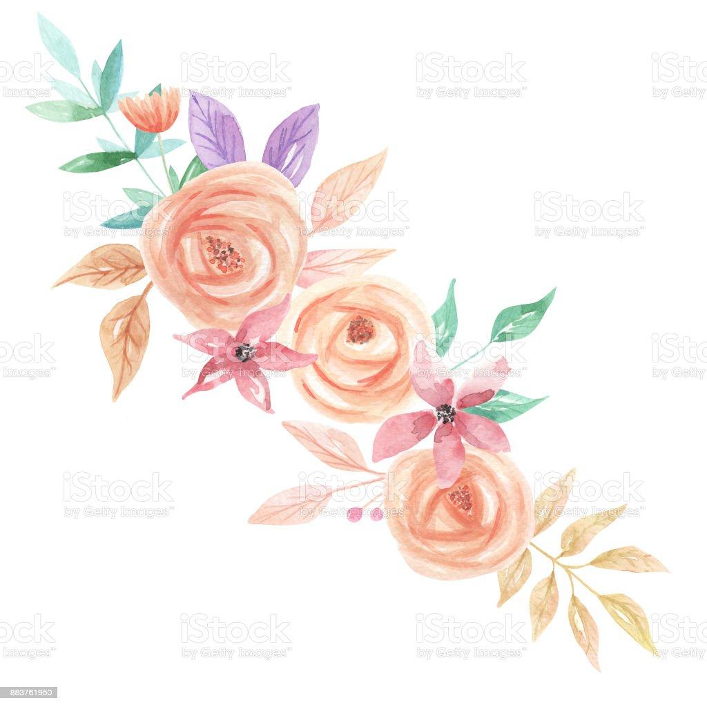 Hand Painted Watercolor Flower Bouquet Arrangement Spring Summer...