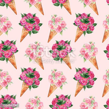 istock Watercolor flower bouquet peony rose carnation ice-cream waffle sweet dessert seamless pattern texture background 1254547066