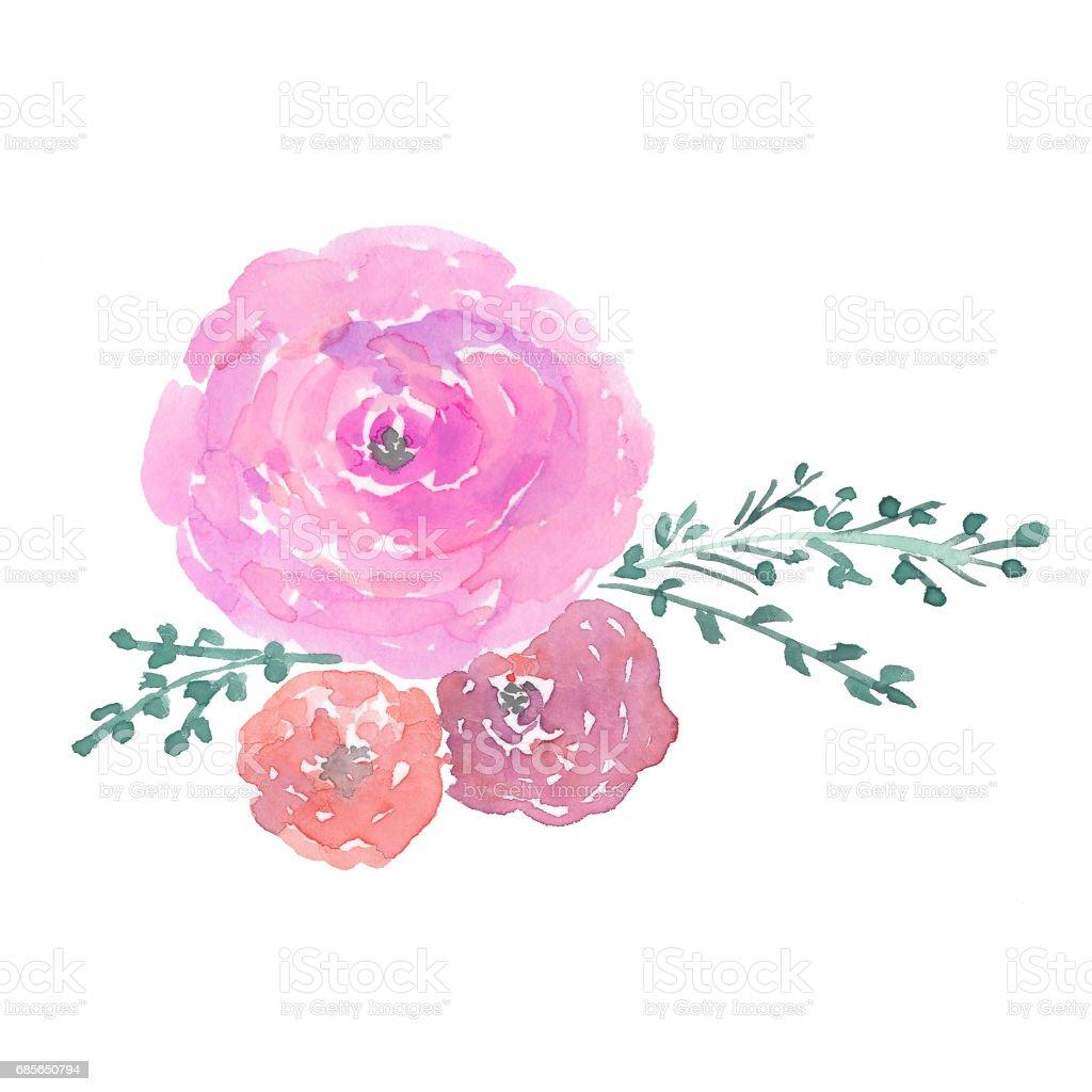 水彩花卉鮮花: 玫瑰、 鬱金香、 牡丹和樹葉 免版稅 水彩花卉鮮花 玫瑰 鬱金香 牡丹和樹葉 向量插圖及更多 人造物件 圖片