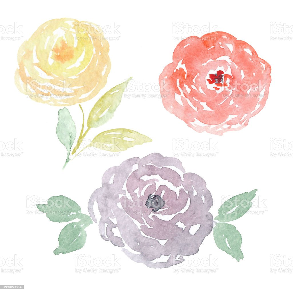 Watercolor flower bouquets: roses, tulips, peonies and leaves watercolor flower bouquets roses tulips peonies and leaves - arte vetorial de stock e mais imagens de abstrato royalty-free