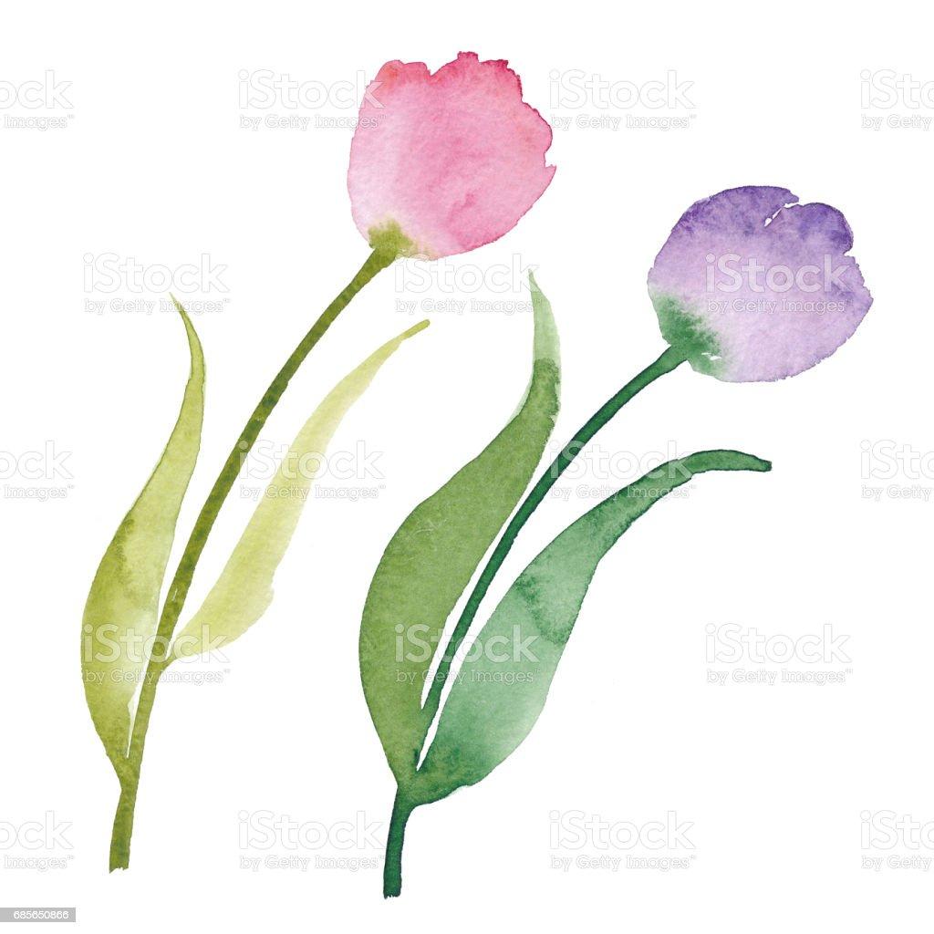 Aquarell Blumensträuße: Rosen, Tulpen, Pfingstrosen und Blätter Lizenzfreies aquarell blumensträuße rosen tulpen pfingstrosen und blätter stock vektor art und mehr bilder von abstrakt