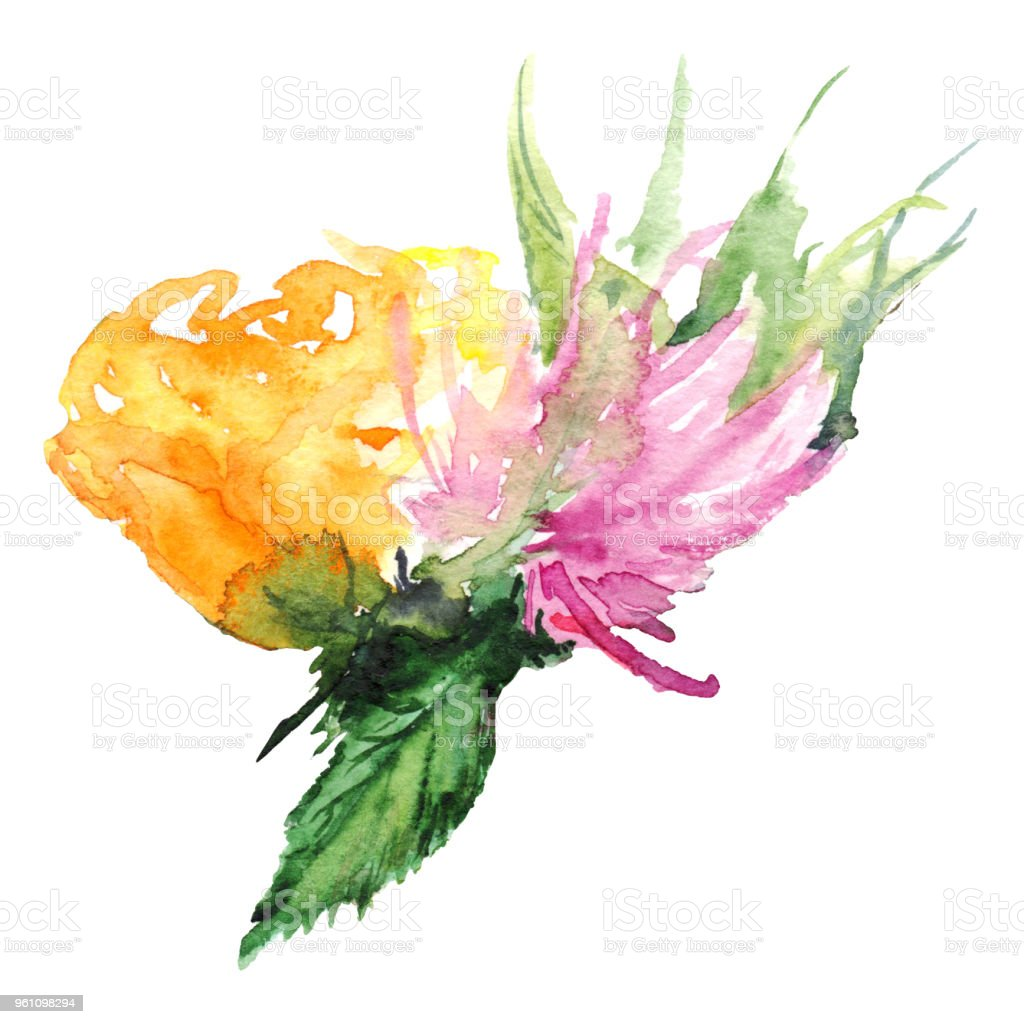 Watercolor flower floral boutonniere set isolated illustration vector art illustration