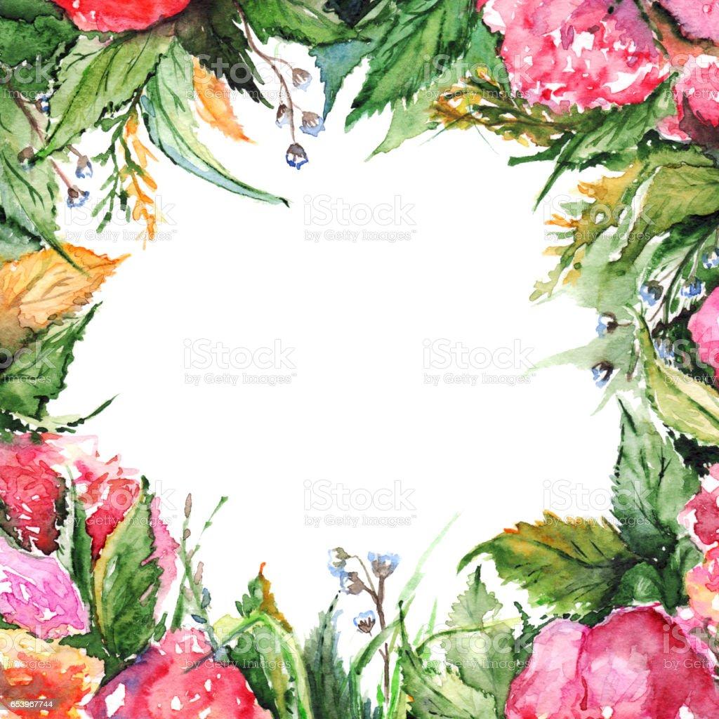 Fleur Aquarelle Fleuri Romantique Avec Couronne Image Illustration