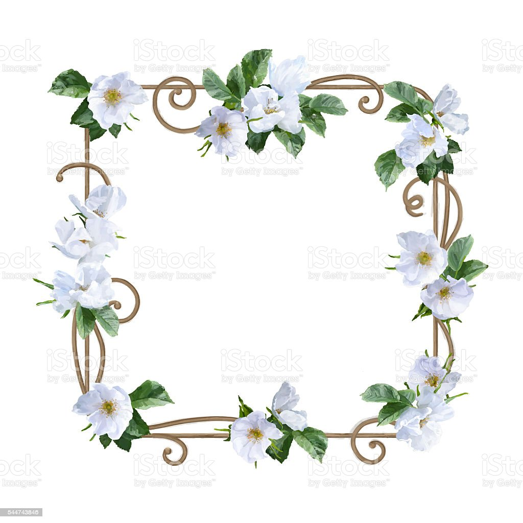 watercolor flower frame stock vector art amp more images of