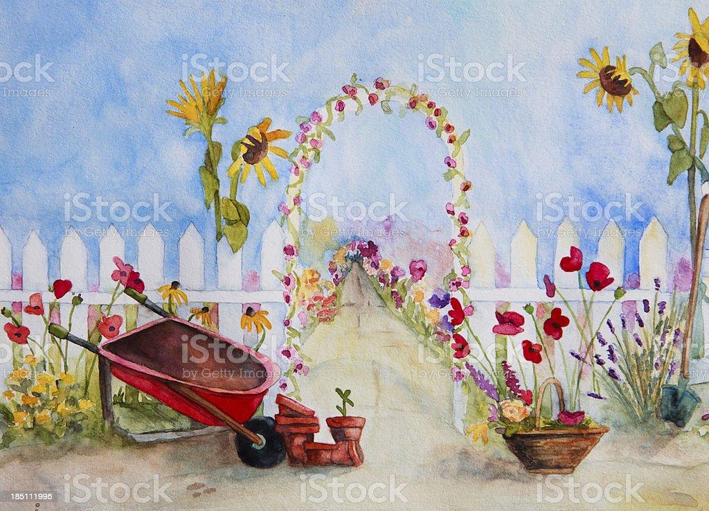 Le Jardin Fleuri Aquarelle Scène Vecteurs libres de droits et plus d ...