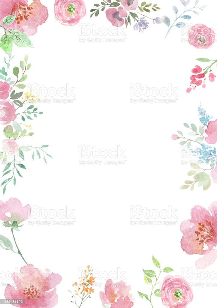Watercolor Flowers Background With Floral Ornaments Wedding