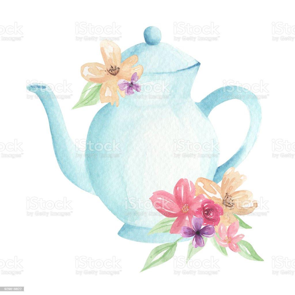 Watercolor Flowers Blue Teapot Painted Florals Tea Pretty ...