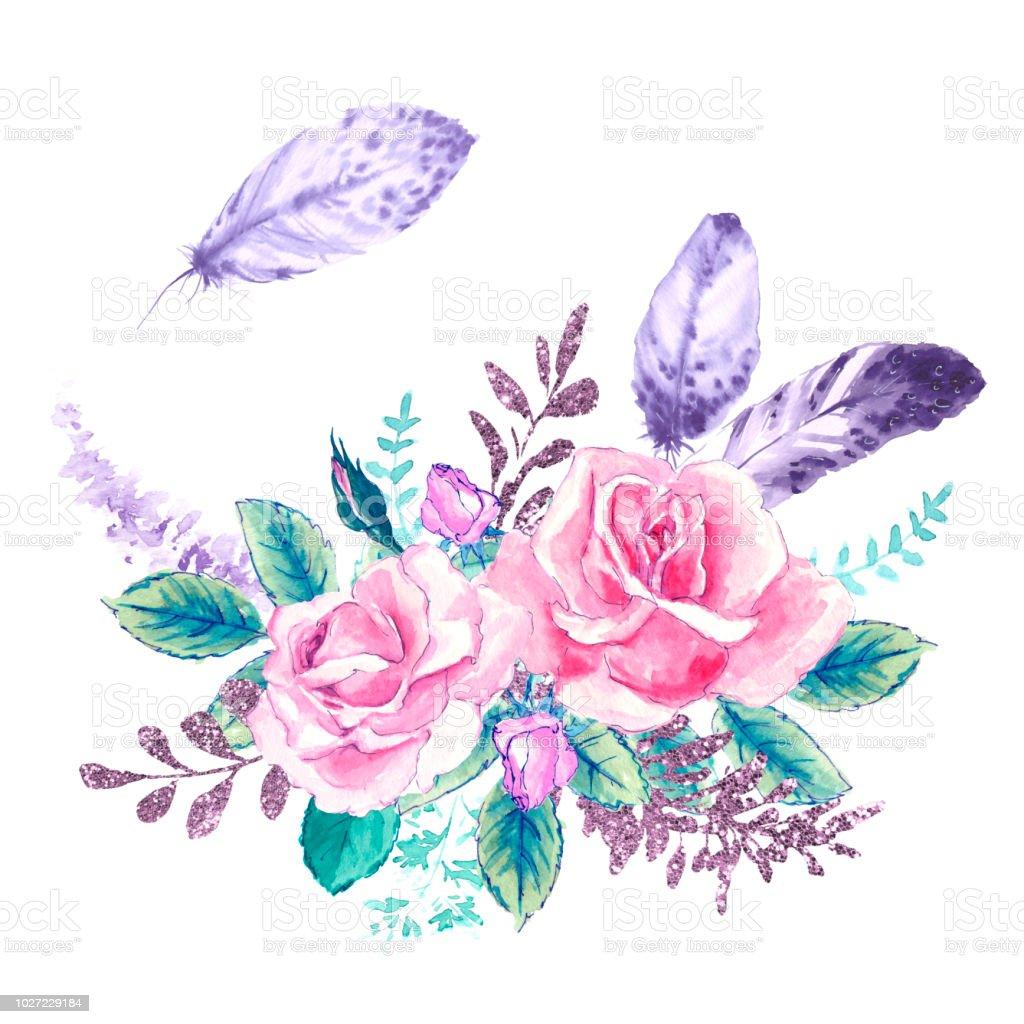 flores acuarela. Ilustración floral, hojas y brotes. Composición botánica para boda o tarjetas de felicitación. ramo de flores - rosas de abstracción - ilustración de arte vectorial