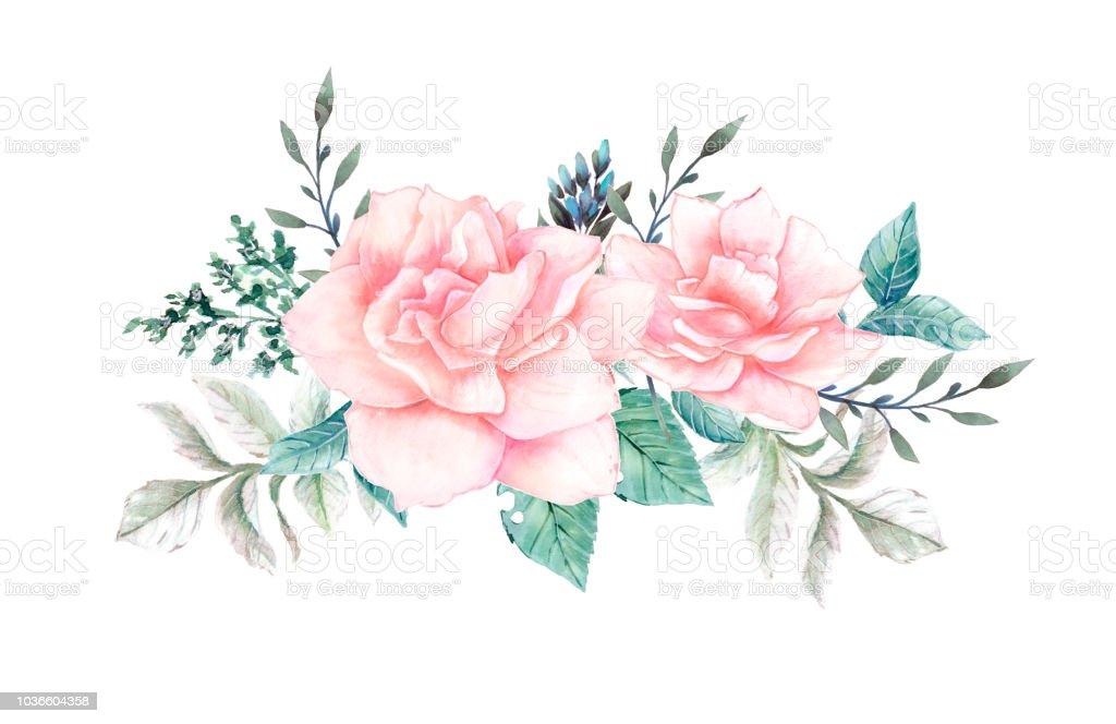 Flores acuarela. Ilustración floral, hojas y brotes. Composición botánica para boda o tarjetas de felicitación. - ilustración de arte vectorial