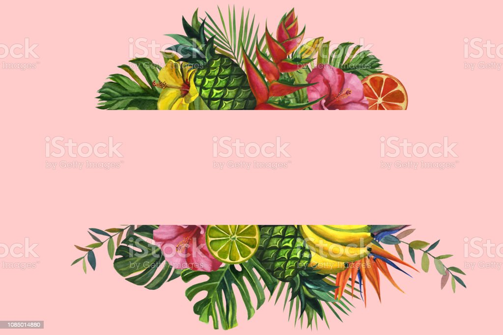 Watercolor Flowers Frame With Tropical Palm Leaves Bananas