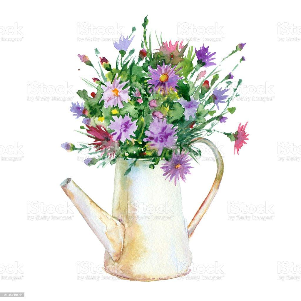 Watercolor flowers in vase stock vector art more images of watercolor flowers in vase royalty free watercolor flowers in vase stock vector art amp reviewsmspy