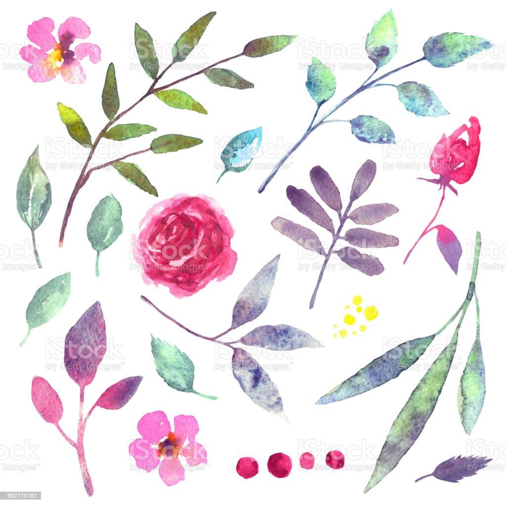 Sulu Boya çiçekler Yapraklar Dallar Otlar Stok Vektör Sanatı Ağaç