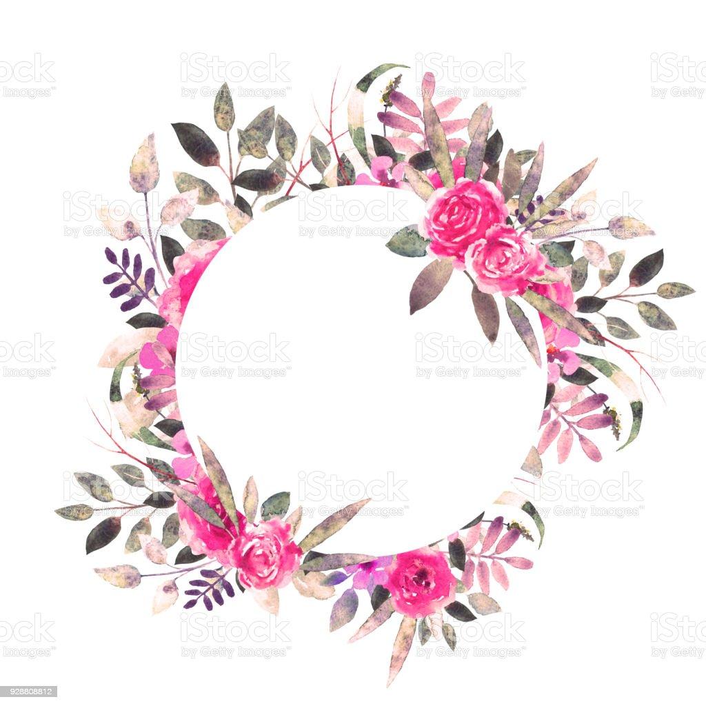 水彩の花葉花輪花のフレーム - ばら色のベクターアート素材や画像を多数