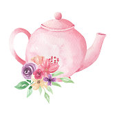 Hand Painted Watercolor Flowers Teapot Painted Florals Tea Pretty Blooms