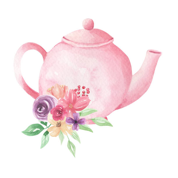 Watercolor Flowers Pink Teapot Painted Florals Tea Pretty Blooms Hand Painted Watercolor Flowers Teapot Painted Florals Tea Pretty Blooms teapot stock illustrations