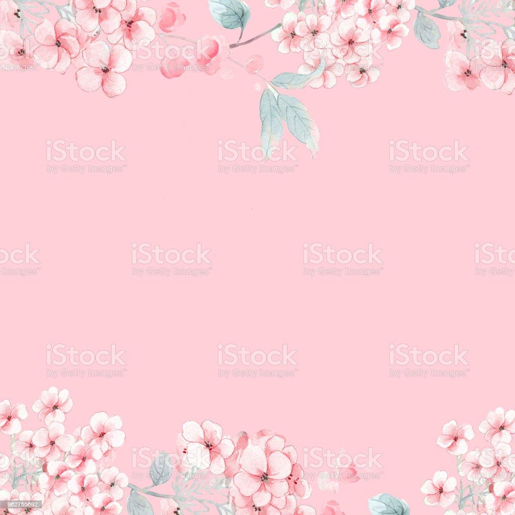 Peônia aquarela flores rosa - Ilustração de Arte royalty-free