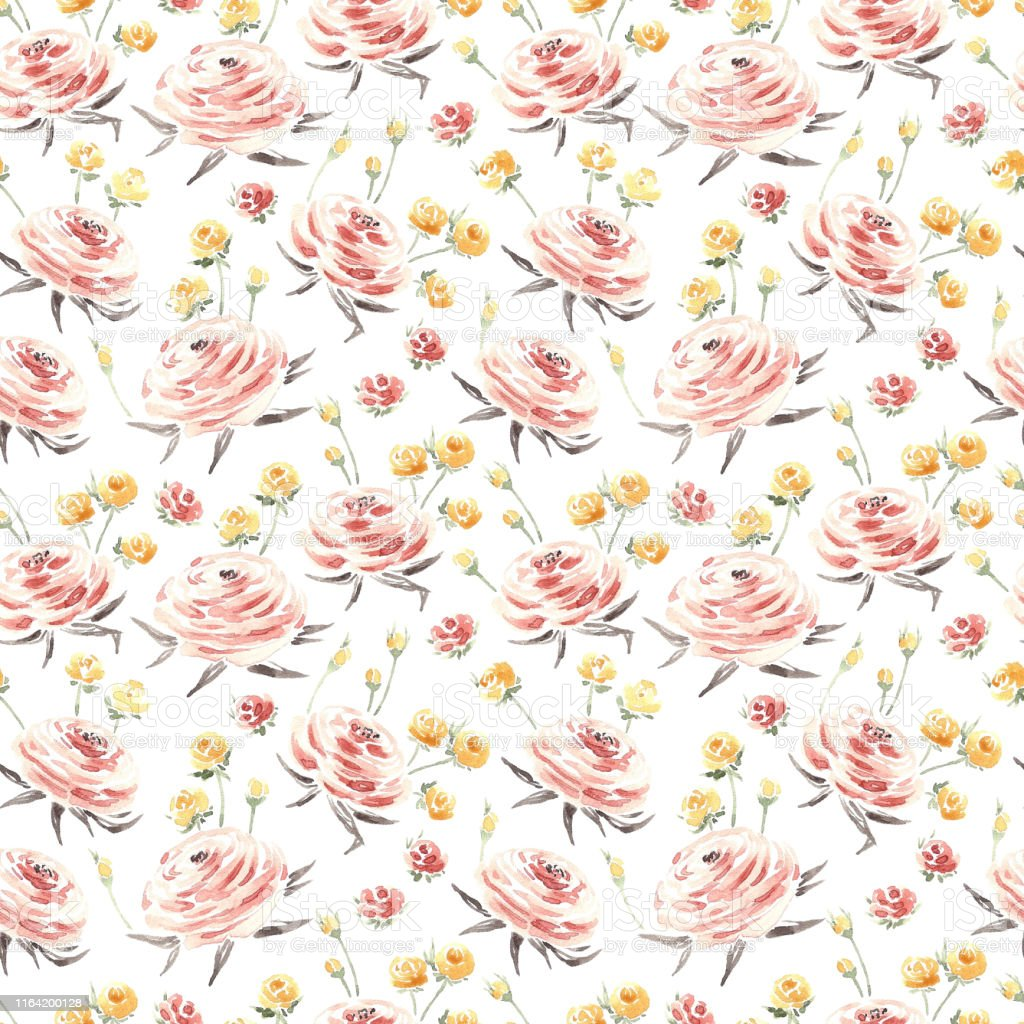 Watercolor Flowers Seamless Pattern Pink And Yellow Ranunculus