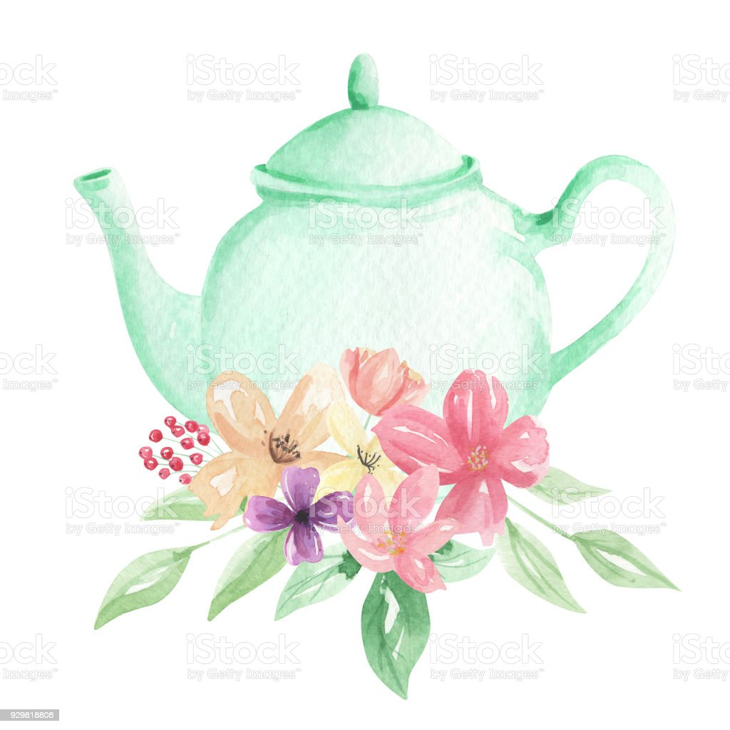 Watercolor Flowers Teapot Mint Painted Florals Tea Pretty Blooms ...