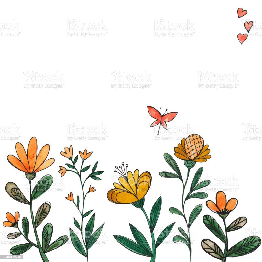 Sulu Boya çiçekler Sarı çiçekler Ve Kelebekler Stok Vektör Sanatı