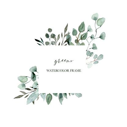 watercolor foliage greens wedding frame eucalyptus collection