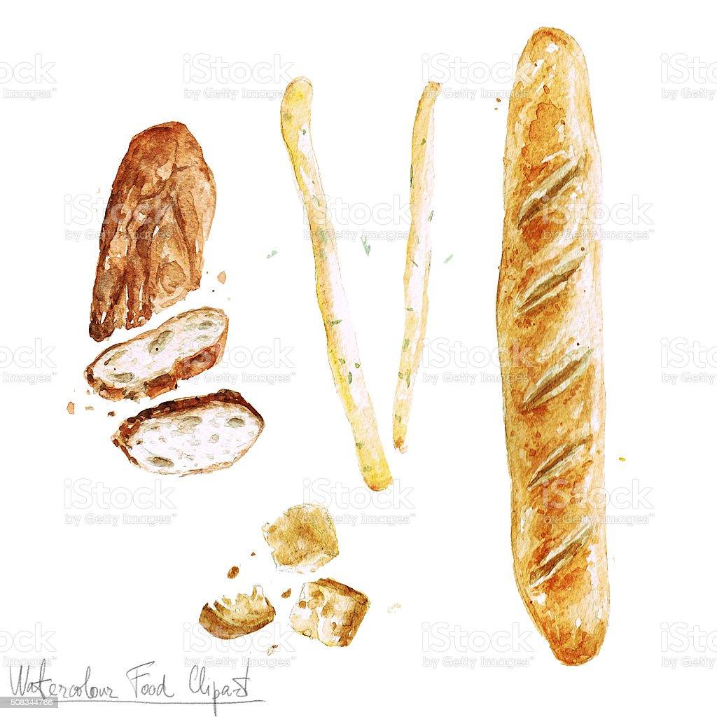 Aquarelle Clipart-plaque de la nourriture. - Illustration vectorielle