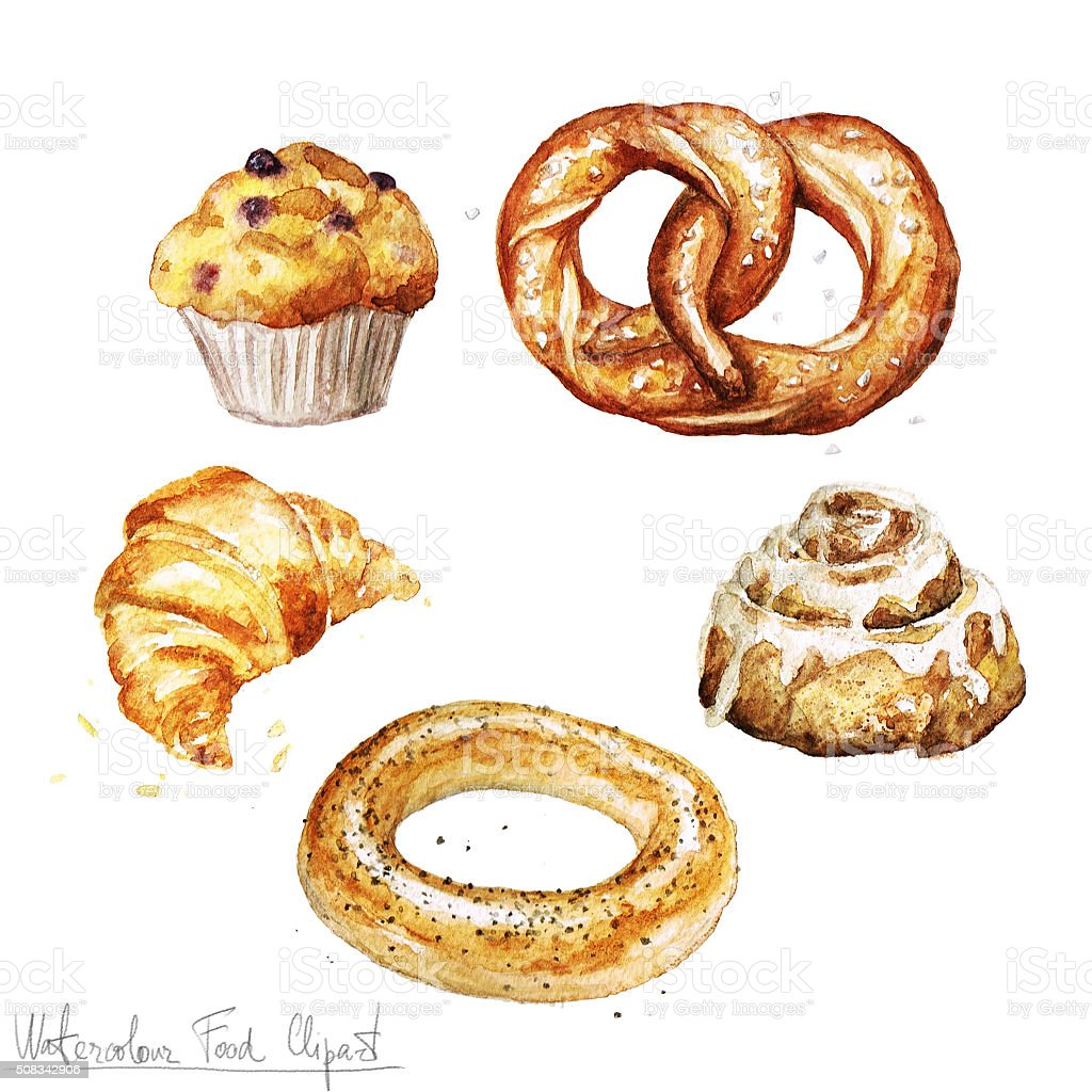 Watercolor Food Clipart Baking Isolated Stock Vector Art ...