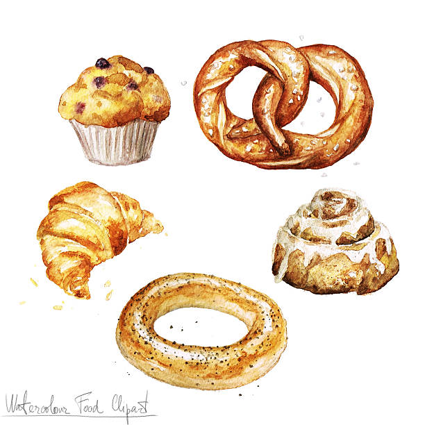 watercolor food clipart - baking. isolated - cinnamon roll stock illustrations, clip art, cartoons, & icons