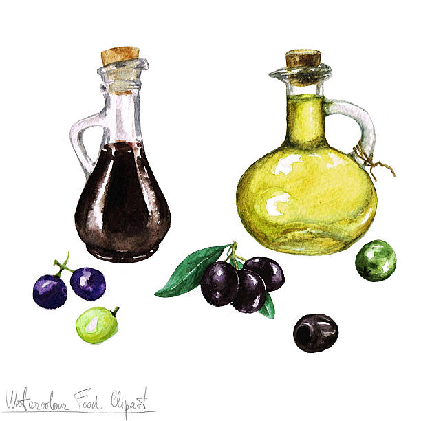 Watercolor Food Clipart -  Olive oil and Vinegar Watercolor Food Clipart -  Olive oil and Vinegar isolated on white balsamic vinegar stock illustrations