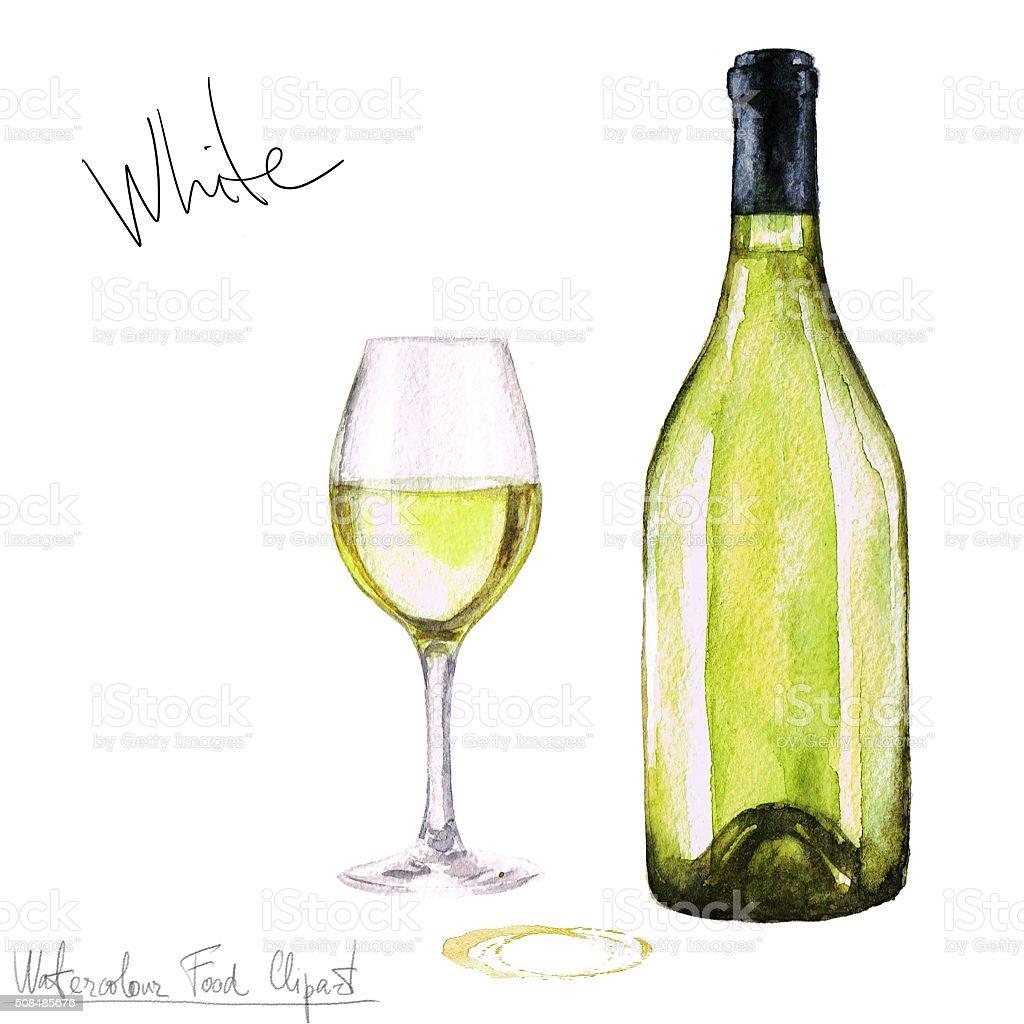 Watercolor Food Clipart - Wine vector art illustration