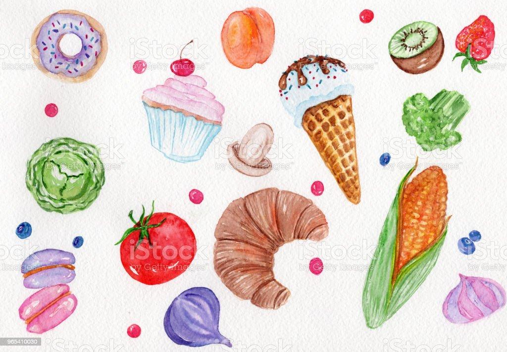 Watercolor food set. watercolor food set - stockowe grafiki wektorowe i więcej obrazów brokuł royalty-free