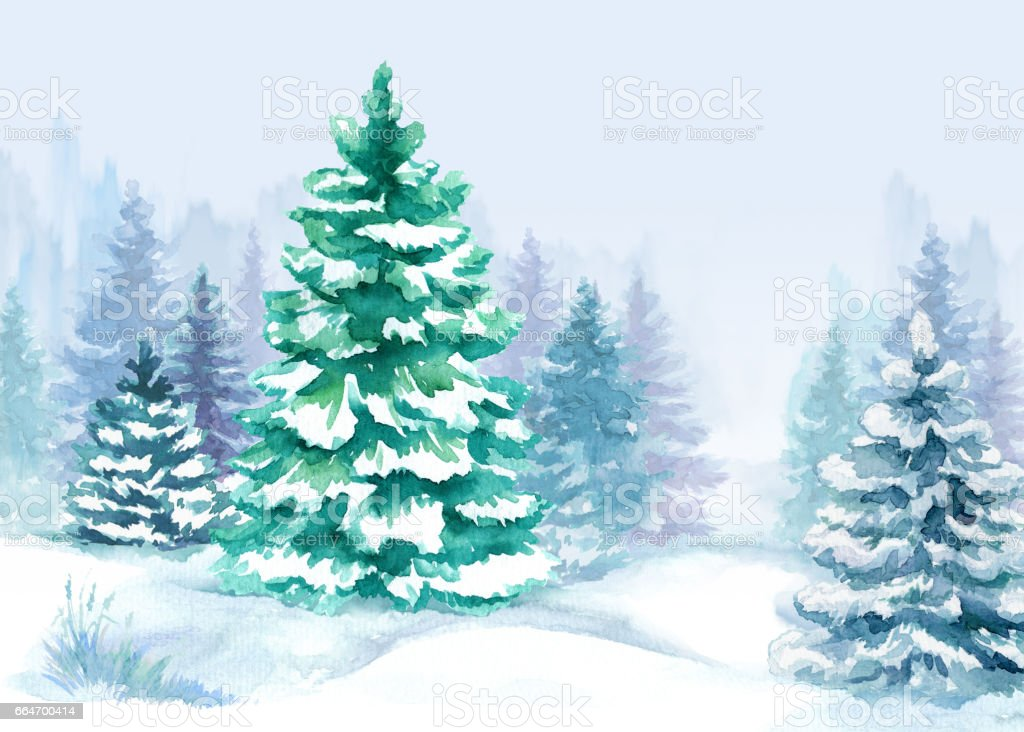 watercolor forest illustration winter trees christmas