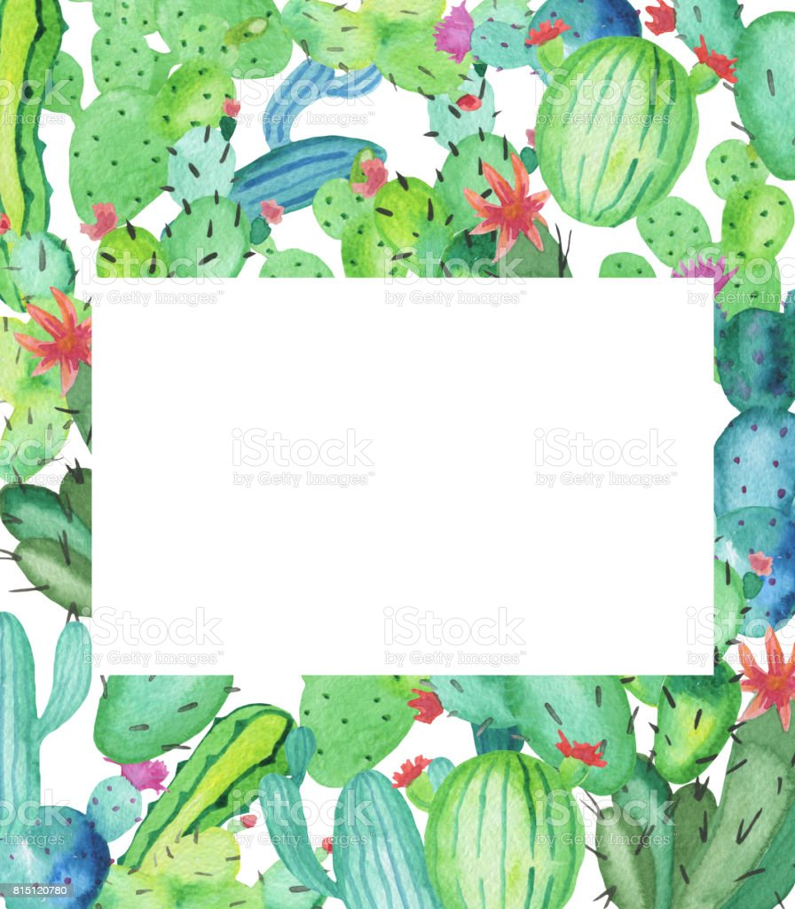 Watercolor Frame Made Of Handdrawn Watercolor Green Cactus Plants ...