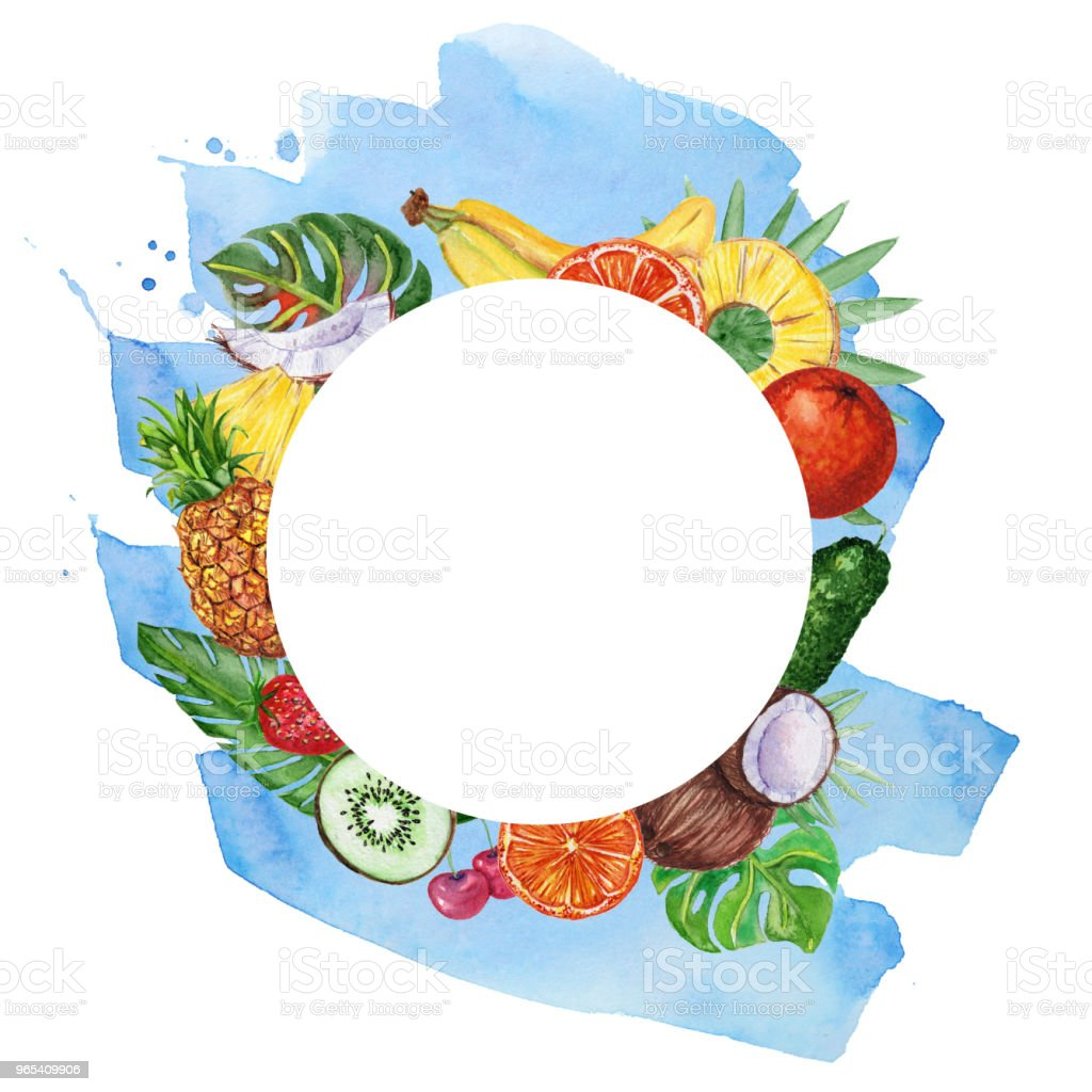 Watercolor frame with fruits and leaves. royalty-free watercolor frame with fruits and leaves stock vector art & more images of agriculture