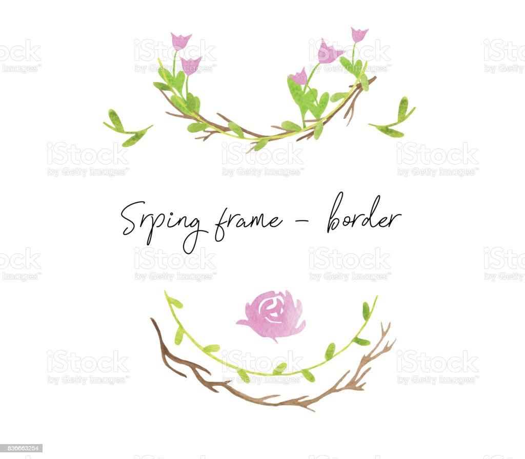 Sulu Boya çerçeveleri Yeşil Yaprakları Elle çizilmiş Ve Bahar