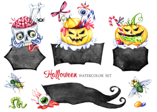 watercolor frames set, poisonous desserts. halloween holiday collection. funny food. magic, symbol of horror. childish stickers. can be use in holidays design, posters, invitations - vegetable blood stock illustrations, clip art, cartoons, & icons