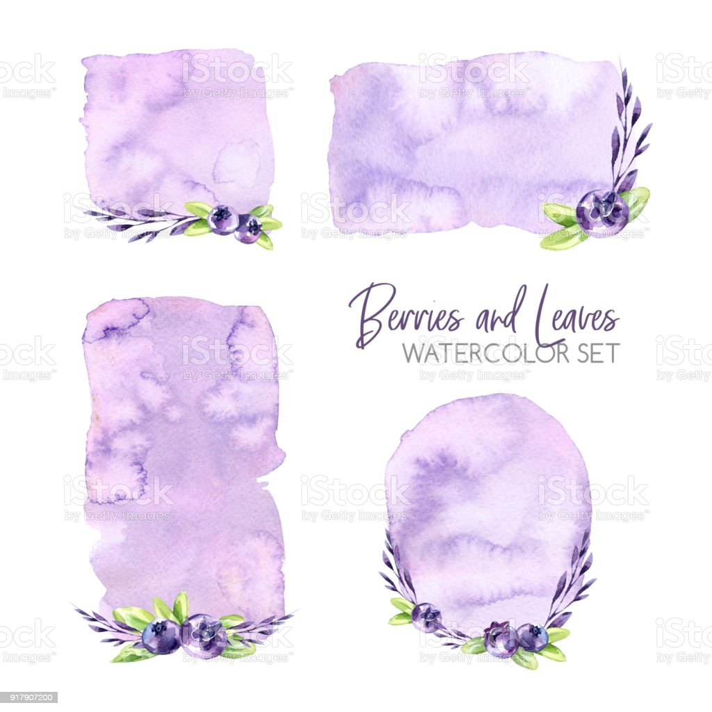watercolor frames set with textures and berries original hand drawn