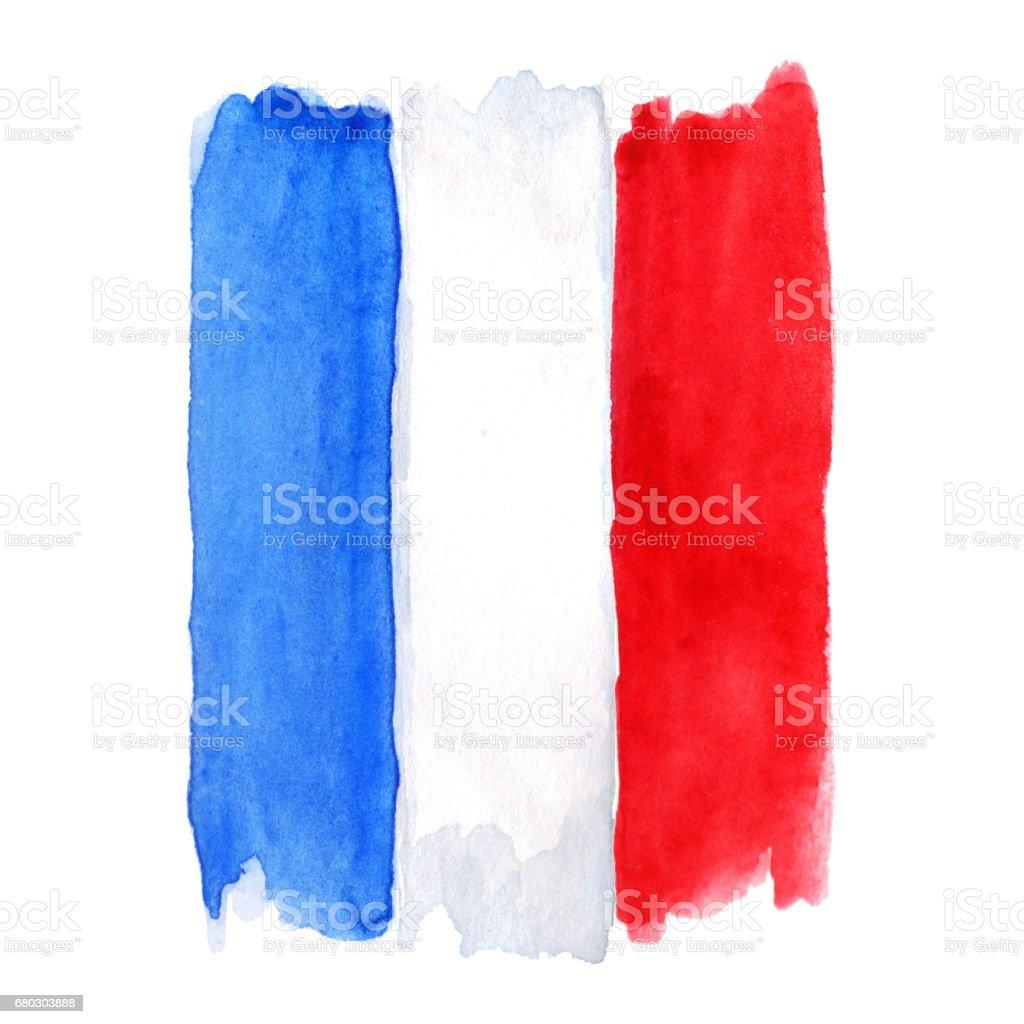 Francia acuarela tricolor de la bandera francesa 3 aislado - ilustración de arte vectorial