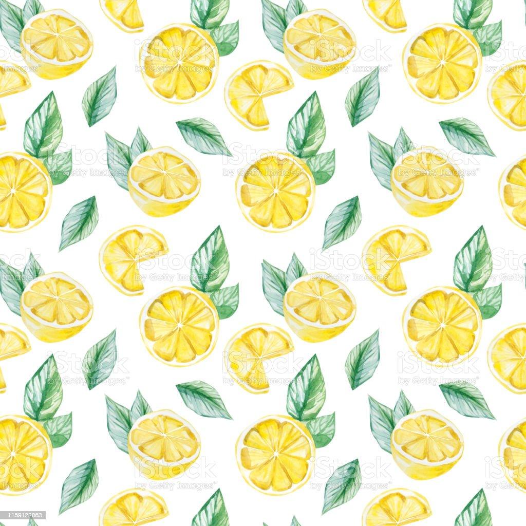 Watercolor Fruit Pattern Lemon Summer Print For The Textile Fabric