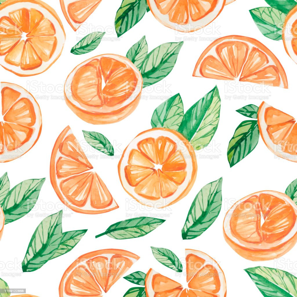 watercolor fruit pattern orange summer print for the textile fabric illustration id1159122868