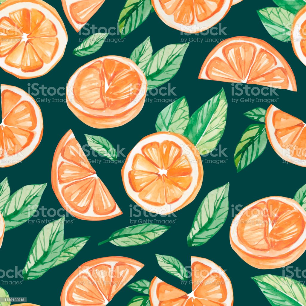 watercolor fruit pattern orange summer print for the textile fabric illustration id1159122915
