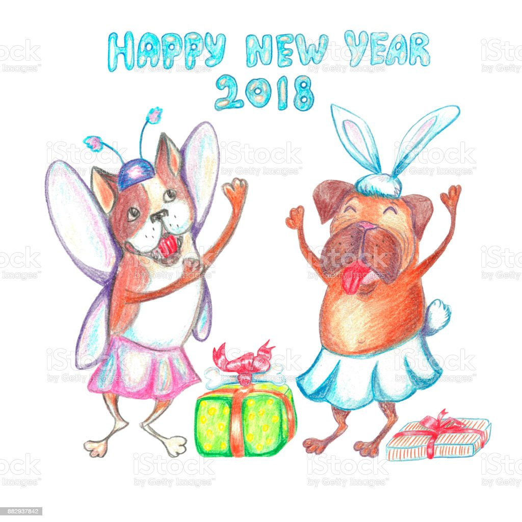 Watercolor Funny Dancing Pug And French Bulldog In Carnival Costume ...