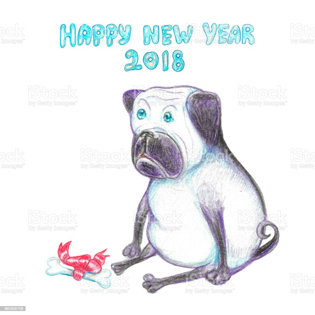 Watercolor Funny Pug Happy New Year Greeting Card The Dog Symbol ...