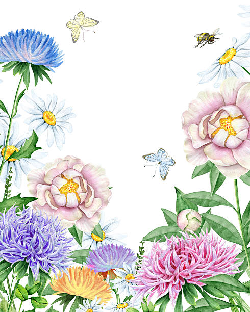 Watercolor garden Hand drawn watercolor image. The author is Ekaterina Mikheeva, date of creation - December, 2015 bee borders stock illustrations